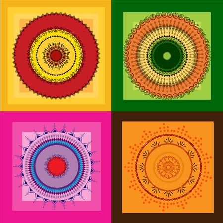 Indian art inspired colourful henna tiles