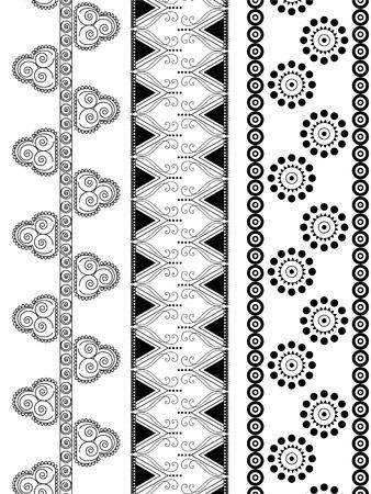 Indian art inspired  henna borders Illustration