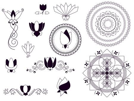 henna design: Henna conjunto de loto