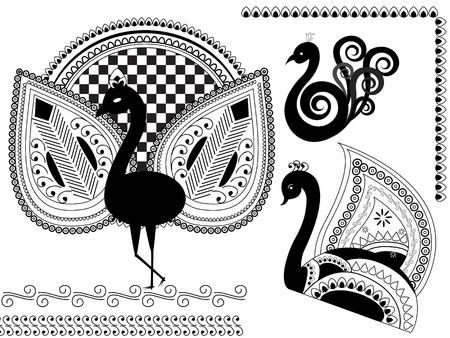 pavo real: henna dise�o inspirado pavo (vector) Vectores