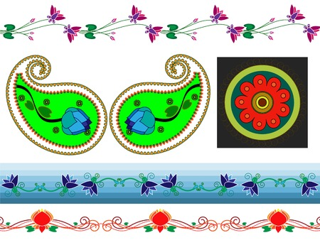 Henna boder designs and paisely design