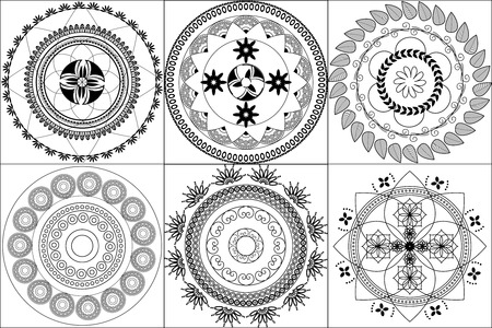 inspired: Indian Design inspired Henna tiles Illustration