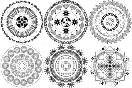Indian Design inspired Henna tiles Illustration