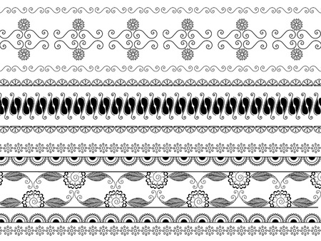 Detailed henna borders Illustration