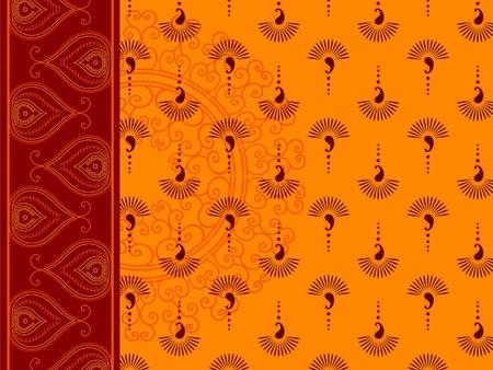 saree: Henna insipred Saree background Illustration