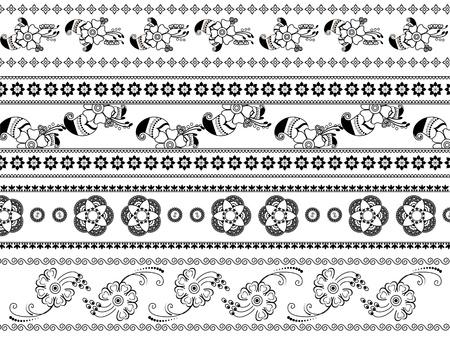 Henna border design Vector
