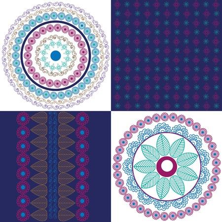 Mandala design with matching borders Vector