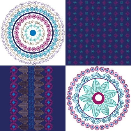 matching: Mandala design with matching borders Illustration