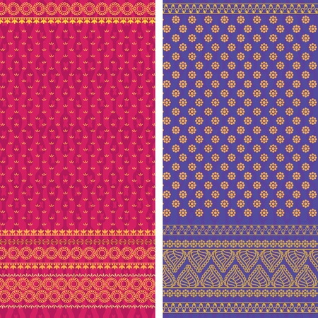 Indian Sari Borders, very detailed and easily editable Stock Vector - 9266208