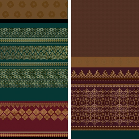 Indian Sari Borders, very detailed and easily editable Vector