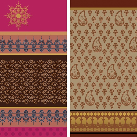 Indian Sari Borders, very detailed and easily editable Stock Vector - 9266207