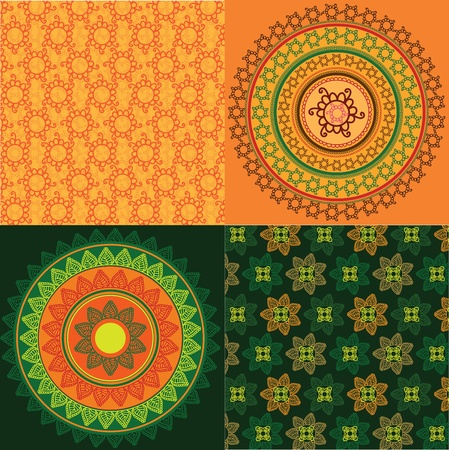 Colorful Henna mandala design with matching pattern Vector