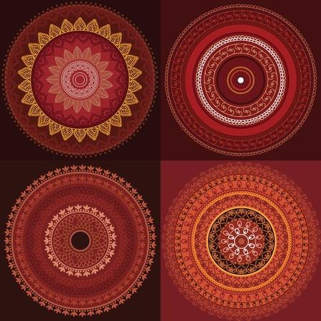 Detailed and Colorful Henna mandala Designs, Easily editable Vector