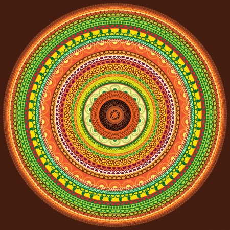Detailed and Colorful Henna mandala Design, Easily editable Vector