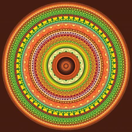Detailed and Colorful Henna mandala Design, Easily editable Stock Vector - 10282764