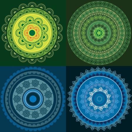 Colorful Henna mandala design Vector