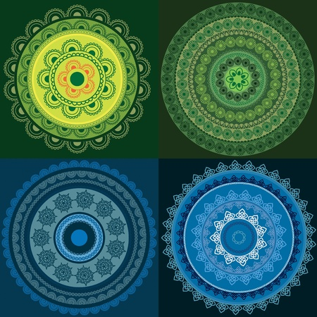 Colorful Henna mandala design Illustration