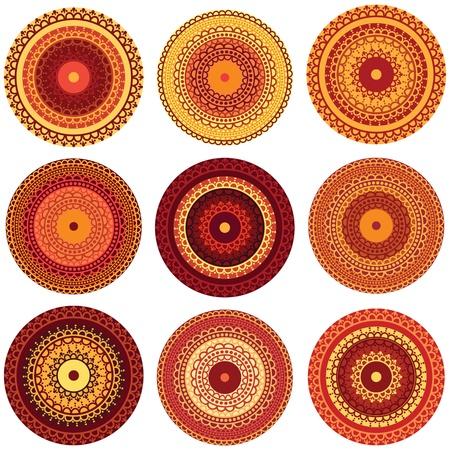 彩色的指甲花曼荼罗设计,非常精致,易于编辑