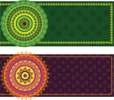 Colourful Henna Banners/ borders, with matching mandala- Indian henna art inspired -very detailed and easily editable Stock Vector - 10607182