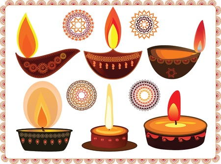 bollywood: Vector Oil Lamp- With mandala background Illustration