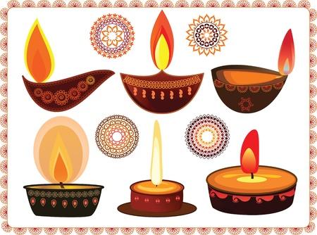 mehendi: Vector Oil Lamp- With mandala background Illustration