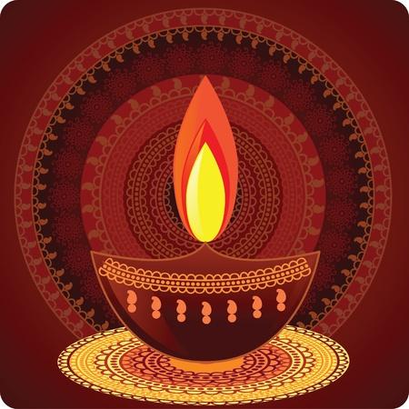 candil: Fondo de vector aceite lámpara - con mandala