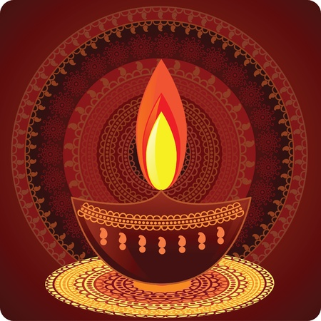 Vector Oil Lamp- With mandala background Vector