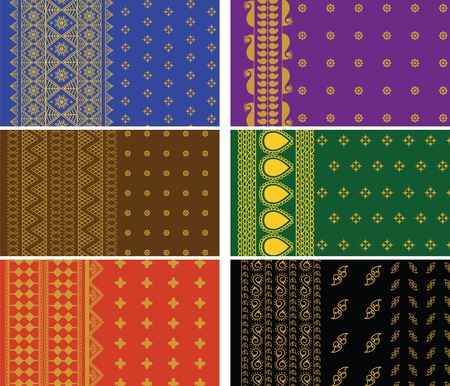 Indian Sari Borders, detailed and easily editable. Vector