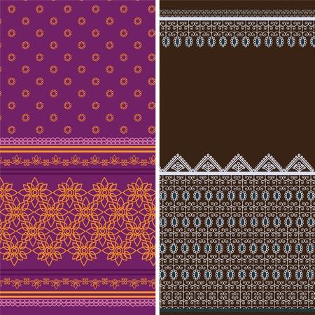 sari: India Sari Fronteras, detallados y f�cilmente editable.
