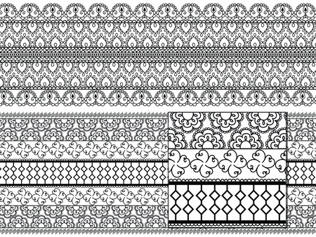 Indian Henna art inspired borders - Seamless, Detailed and Easily Vector