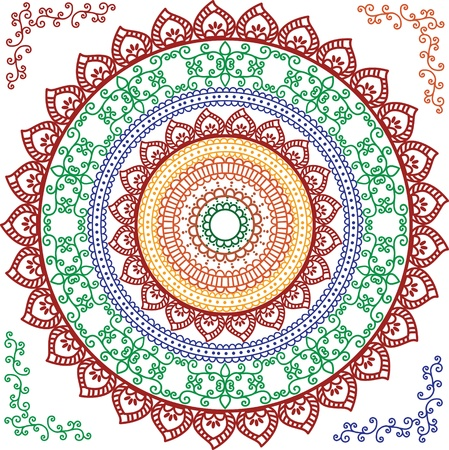 feminity: Detailed and colourful Mandala Design