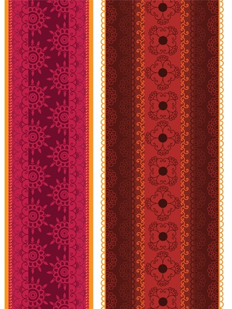 Colourful Henna Banners borders Indian henna art inspired -very detailed and easily editable Vector