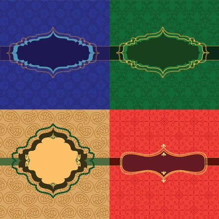 Colourful Henna frames on pattern Vector