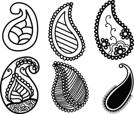 Henna Paisley set Vector