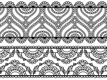 Henna Borders Banners Vector