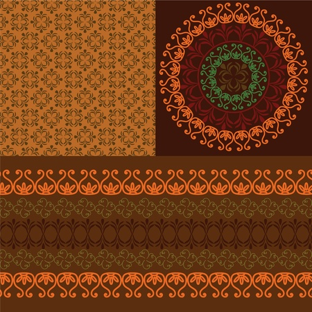 Colourful Henna Banners & borders Indian henna art inspired -very detailed and easily editable Vector