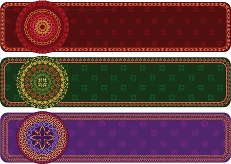 Colourful Henna Banners Indian henna art inspired -very detailed and easily editable