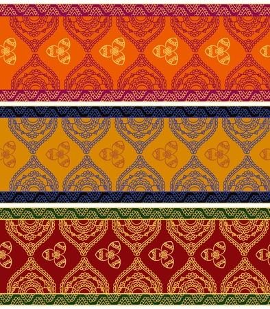 indianin: Kolorowa Henna banners  granice Indii sztuka henna inspirowane-bardzo szczegółowe i łatwo edytowalne