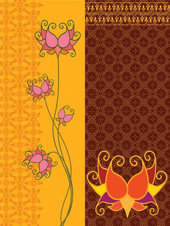 Lotus Banners with Pattern Vector
