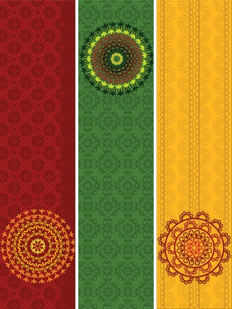 Colourful Henna Banners borders Indian henna art inspired -very detailed and easily editable Illustration