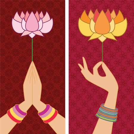 Presenting Lotus Banners Vector