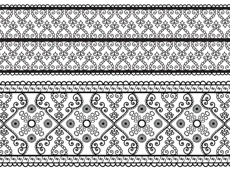 Henna Banners, very elaborate and easily editable Vector
