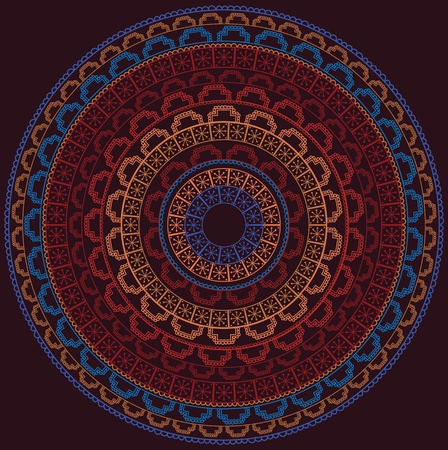 Colorful Henna Mandala, very elaborate and easily editable Vector