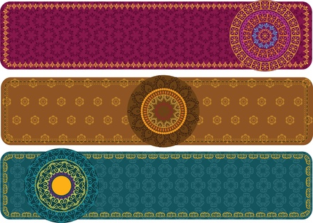 Colorful Henna Mandala Banners, very elaborate and easily editable Stock Vector - 11675355