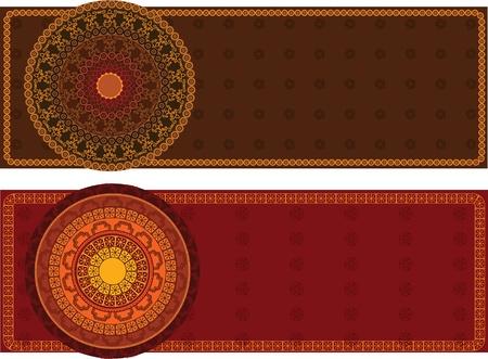 Kleurrijke Henna Mandala Banners, zeer uitgebreide en gemakkelijk te bewerken zijn Vector Illustratie