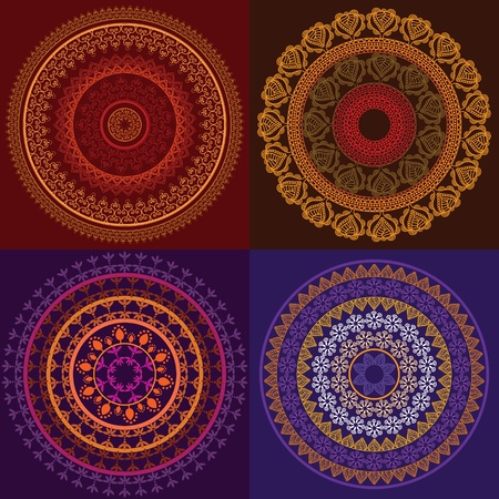 Colorful Henna Mandala Design, very elaborate and easily editable Vector