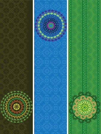 Colorful Henna Mandala Banners, very elaborate and easily editable Vector