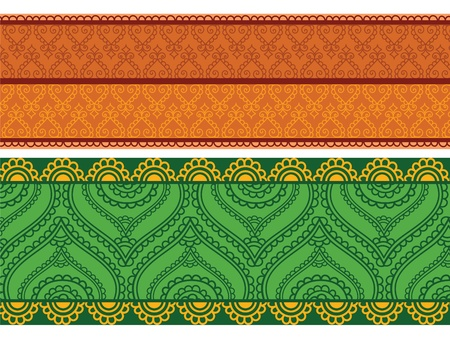 Colorful Henna Banners, very elaborate and easily editable Vector