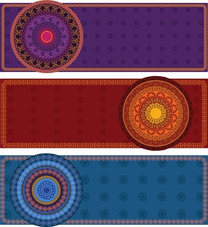 Colourful Henna Mandala Banners Illustration