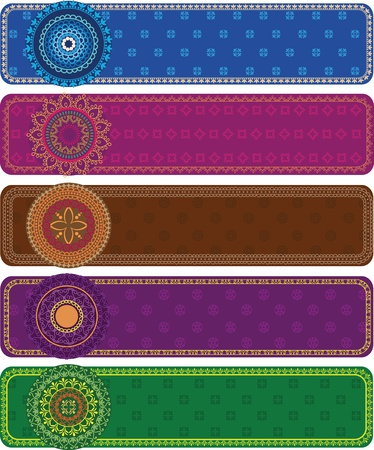 Colourful Henna Banners borders  Vector